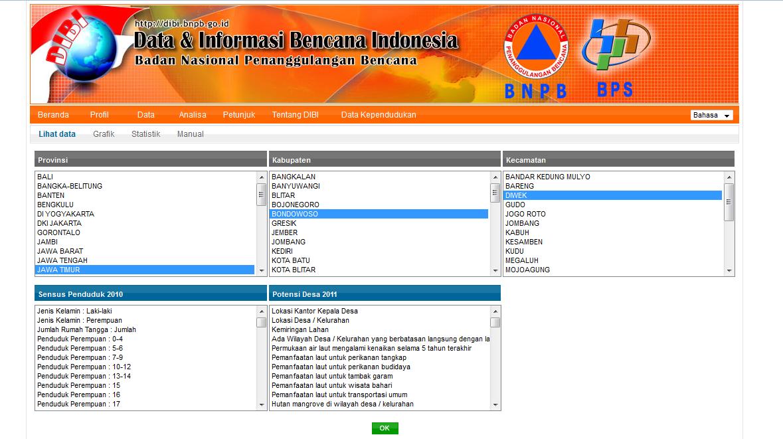 Tampilan Website Data Informasi dan Bencana Indonesia