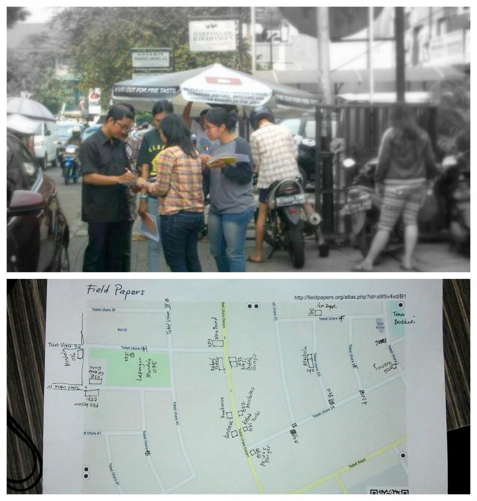 (atas) Mengumpulkan data dengan GPS. (bawah) Contoh pengumpulan data dengan Fieldpapers
