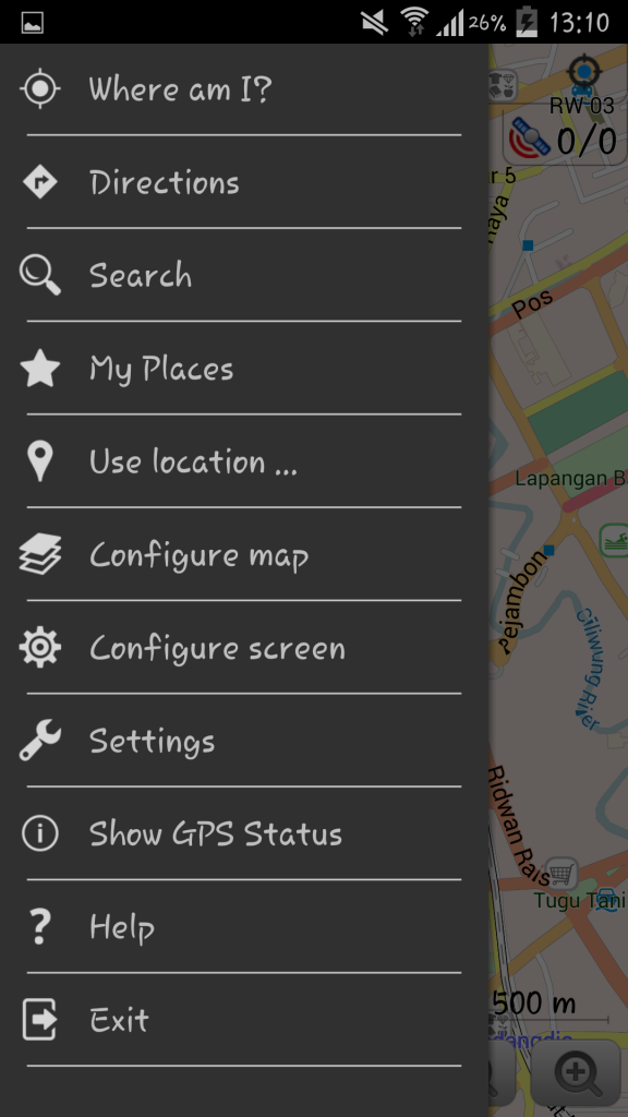 Tampilan Menu di Peta