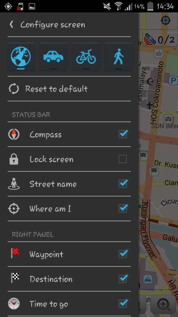 Tampilan Configure Screen