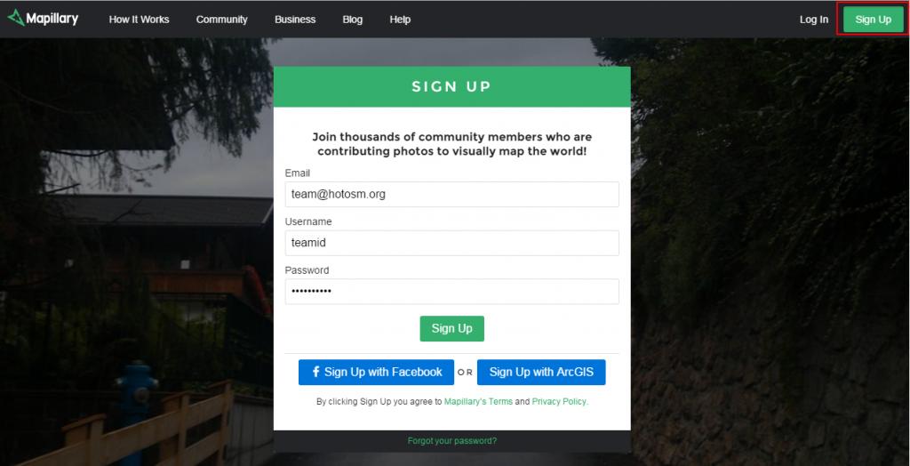 Sign-up Mapillary