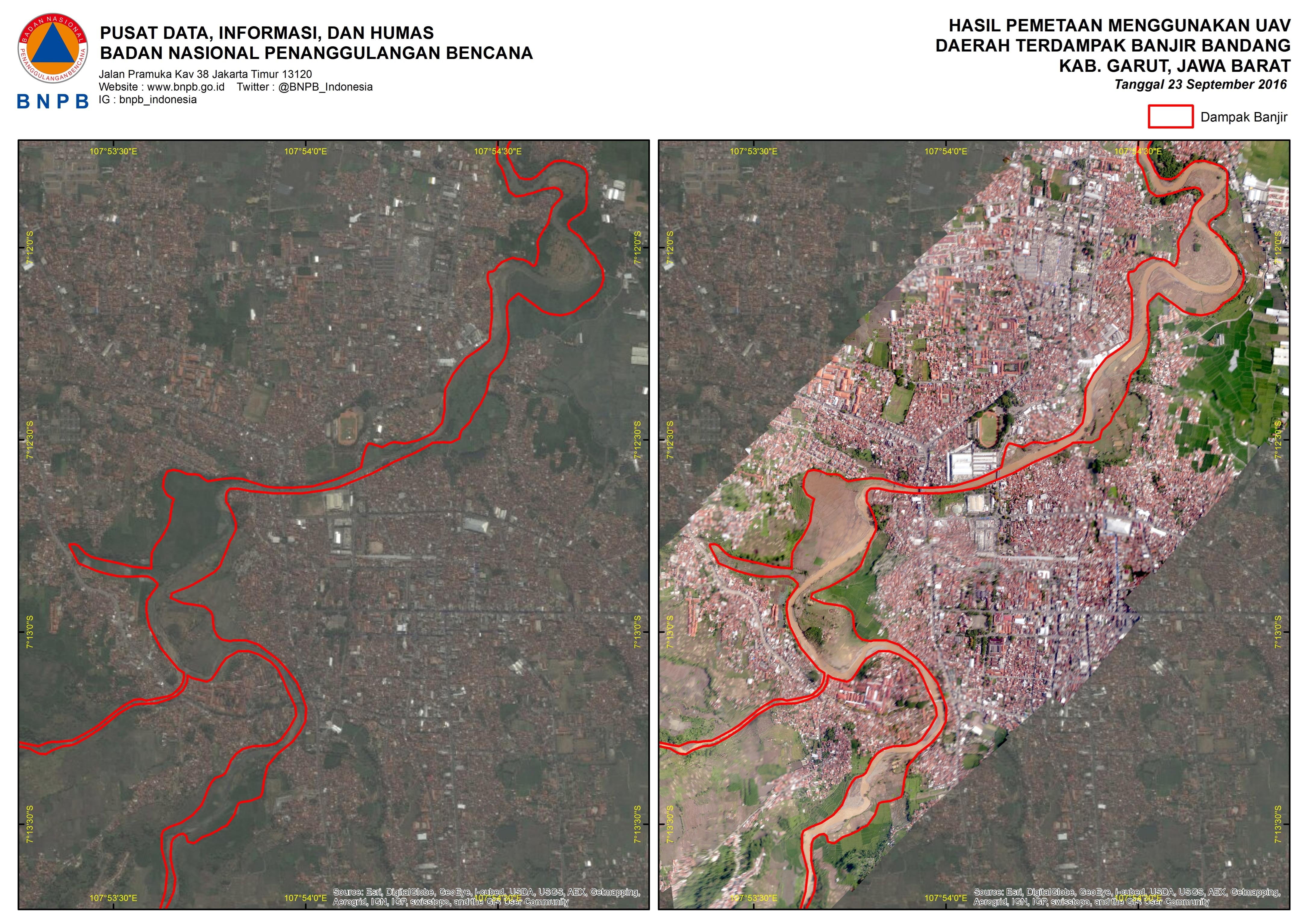 Hasil Pemetaan Menggunakan UAV pada Wilayah Terdampak Banjir Bandang Kabupaten Garut (Sumber: http://geospasial.bnpb.go.id/wp-content/uploads/2016/09/Banjir-garut-uav.jpg)